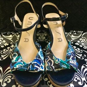 "Unisa Multi-Blue Wedge Sandals (3"" heel)"
